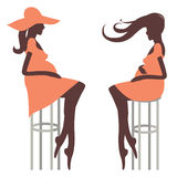 Fashionable pregnancy Two young woman Royalty Free Stock Image