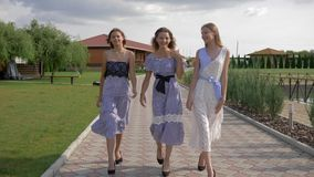 Fashionable pretty girls in dresses and high heels walking on walkway in park
