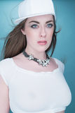 Fashionable Pretty Young Woman Looking at Camera Royalty Free Stock Photos