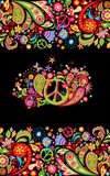 Fashionable print with colorful floral seamless border and hippie peace flowers symbol for shirt design and hippy party poster on. Fashionable print with vector illustration