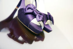 Fashionable Purple Sexy Shoes. A pair of sexy high heeled shoes in purple Stock Images