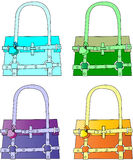 Fashionable purses. A beautiful set of fashinable lady purses in different colors Stock Image