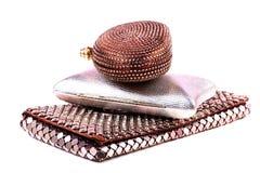 Fashionable purses. Beautiful shot of fashionable purses on white background royalty free stock image