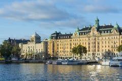 Fashionable quaters Nybroviken, Stockholm Royalty Free Stock Image