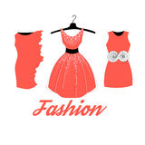 Fashionable red dress Stock Photos
