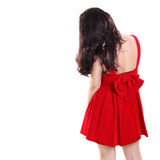 Fashionable red dress with ribbon back shot Royalty Free Stock Photo
