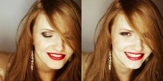 Fashionable red-haired model laughing. Collage of portraits of fashionable red-haired model laughing at camera. close up. studio shot royalty free stock photo