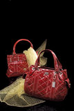 Fashionable red Handbags. A pair of fashionable red handbags stock photos