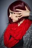Fashionable Red Nail Polish Stock Photography