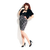 Fashionable redhead pregnant woman Royalty Free Stock Image