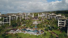 Fly over the most expensive resort montage kapalua and palm park on island maui,hawaii stock video footage