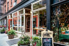 Fashionable restaurant and vintage store in Greenwich Village Stock Photos