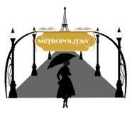 Fashionable retro woman in the rain Stock Image