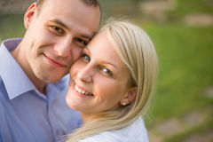 Fashionable romantic young couple outdoors. Royalty Free Stock Photos