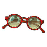 Fashionable round sunglasses in red plastic frame, summer vacation attribute Stock Photo