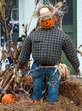 Fashionable Scarecrow. A scarecrow made from a pumpkin, flannel shirt, jeans, and a straw hat sitting on a bale of hay Stock Photography