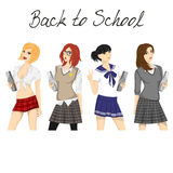 Fashionable school girl vector pack Royalty Free Stock Images