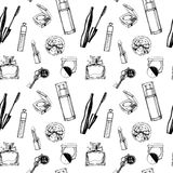 Fashionable seamless pattern with a beautiful perfume, mascara, keys, powder puff, blush. Vector illustration. Stock Photos