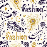 Fashionable seamless pattern with man and woman shoes.Hand drawn shopping doodle background. Stock Photography