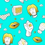 Fashionable Seamless Pattern in Pop Art Style with Golden Badges and Patches. Fabric Background 80s-90s with Girl Lips. Fashionable Seamless Pattern in Pop Art Stock Photos