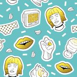 Fashionable Seamless Pattern in Pop Art Style with Golden Badges and Patches. Fabric Background 80s-90s with Girl Lips. Fashionable Seamless Pattern in Pop Art Royalty Free Stock Image