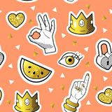 Fashionable Seamless Pattern in Pop Art Style with Golden Badges and Patches. Fabric Background 80s-90s with Hands. And Hearts. Vector illustration Royalty Free Stock Photos