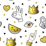 Fashionable Seamless Pattern in Pop Art Style with Golden Badges and Patches. Fabric Background 80s-90s with Hands. And Hearts. Vector illustration Royalty Free Stock Photo