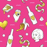 Fashionable Seamless Pattern in Pop Art Style with Golden Dotted Elements. Fabric Background 80s-90s with Girl and Snake. Vector illustration Stock Photo