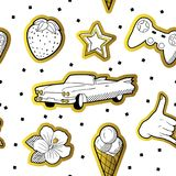 Fashionable Seamless Pattern in Pop Art Style with Golden Dotted Elements. Fabric Fashion Background 80s-90s with Stars. Ice Cream and Car. Vector illustration stock illustration