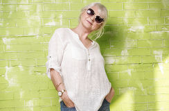 Fashionable senior woman posing. Royalty Free Stock Photography