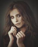Fashionable sepia toned romantic female portrait Royalty Free Stock Photo