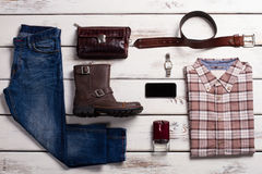 Fashionable set of casual clothes. Stock Photo
