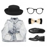 Fashionable set of clothes and accessories. Denim shirt, hat, shoes, bow tie and glasses stock photos