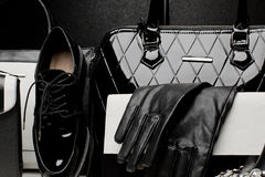 Fashionable set of women's accessories on black background Royalty Free Stock Photography