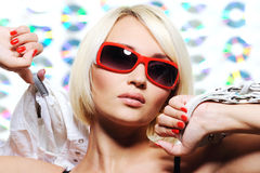 Fashionable sexy blond woman Royalty Free Stock Images