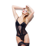 Fashionable sexy blonde woman posing in underwear Royalty Free Stock Images