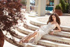 Fashionable sexy woman in luxury dress. Beautiful young brunette Royalty Free Stock Image
