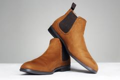 Fashionable shoes. fashion men`s boots still life stock photography