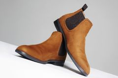 Fashionable shoes. fashion men`s boots royalty free stock photos