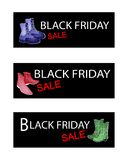 Fashionable Shoes on Three Black Friday Sale Banners Stock Photos
