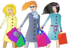 Fashionable shoppers. Vector illustration of three fashionable shoppers with bags Stock Image