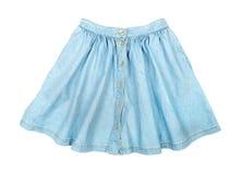 Fashionable short blue denim skirt Stock Photos