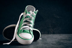 Fashionable sneakers and blank space Royalty Free Stock Image
