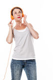 Fashionable sound concept for 30s woman smiling Royalty Free Stock Photos