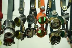 Fashionable steam punk goggles accessories collection stock images