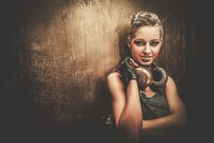 Fashionable steampunk girl Stock Image