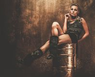 Fashionable steampunk girl Royalty Free Stock Images