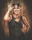 Fashionable steampunk girl stock photo