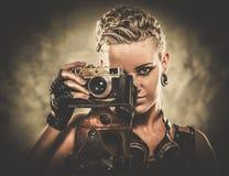 Fashionable steampunk girl Stock Photos