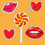 Fashionable stickers with the image of hearts, bright lips Stock Photography